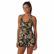 Prego Babydoll Halter Tankini Swimsuit - Black/Brown Floral