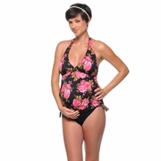 Prego Betsey Johnson Floral Retro Halter Maternity Tankini Swimsuit