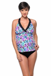Prego Floral Print Maternity Swimsuit Trimkini - Vintage Rose