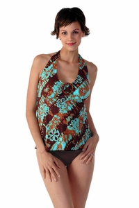 SOLD OUT Prego Maternity Swimsuit Halter-ista - Brown/Turquoise Print