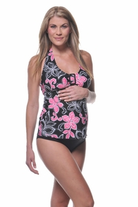 SOLD OUT Prego Maternity Swimsuit Halter-ista - Pink Hibiscus