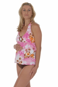 SOLD OUT Prego Maternity Swimsuit Halter-ista - White/Pink Print
