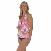 Prego Maternity Swimsuit Halter-ista - White/Pink Print