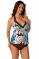 Prego Maternity Swimsuit Trimkini - Brown/Blue Print