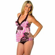 Prego Maternity Swimsuit Trimkini - Brown/Pink Print