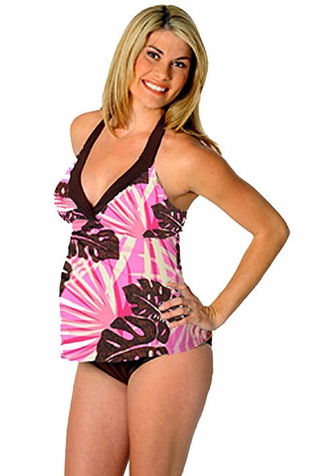SOLD OUT Prego Maternity Swimsuit Trimkini - Brown/Pink Print