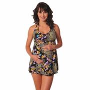 SOLD OUT Prego Babydoll Halter Maternity Tankini Swimsuit - Belize Print