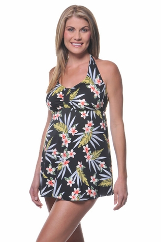 SOLD OUT  Prego Babydoll Halter Maternity Tankini Swimsuit - Palm Leaf Print