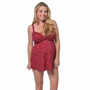 Prego Maternity Wear Babydoll Halter Tankini Swimsuit - Sunset Red/Black Print