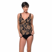 Prego Posh Maternity Tankini Swimsuit  - Black/Brown Print