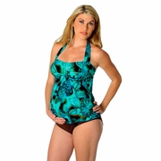 Prego Maternity Wear Sweetheart Halter Maternity Tankini - Aqua/Brown