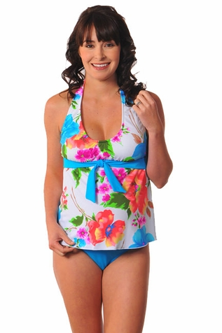 SOLD OUT Prego Tie Halter Maternity Tankini - Turquoise Print