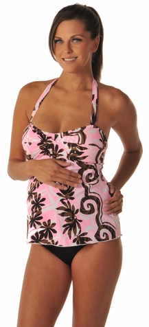 SOLD OUT Prego Pink Print Twist Maternity Tankini