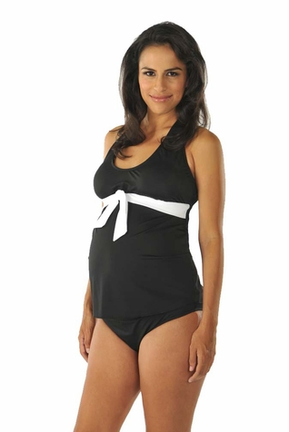 SOLD OUT Prego Tie Halter Maternity Tankini - Solid