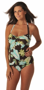 Prego Twist Front Tropical Maternity Tankini