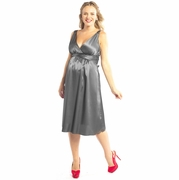 Ripe Deluxe Silver Satin Maternity Dress - FINAL SALE