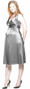 SOLD OUT Ripe Deluxe Silver Satin Maternity Dress - FINAL SALE