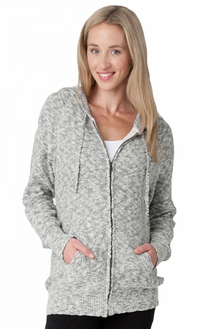 Ripe Maternity Boucle Zip Front Knit Hoodie Sweater