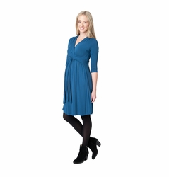 Ripe Maternity Chic Knit 3/4 Sleeve Cross Front Dress