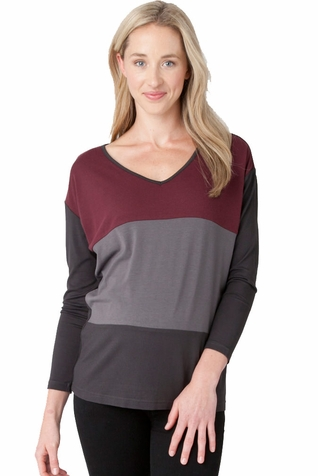 SOLD OUT Ripe Maternity Color Block V Neck Batwing Top