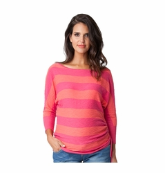 Ripe Maternity Cotton Relaxed Slub Stripe Summer Sweater