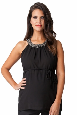 SOLD OUT Ripe Maternity Darling Embellished Neckline Top