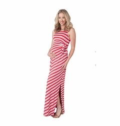Ripe Maternity Striped Side Tie Maternity Maxi Dress