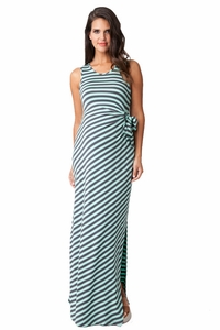 Ripe Maternity Striped Side Tie Maxi Dress