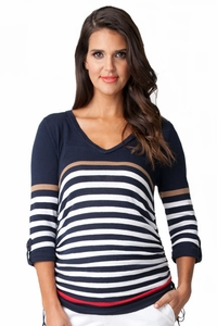 Ripe Maternity Veronica Striped Cotton Knit V Neck Sweater
