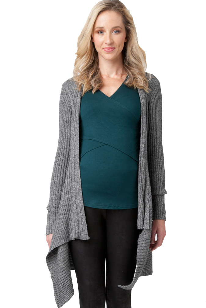 Maternity sweaters keep you and your baby bump warm and stylish all year long. Our assortment features cardigans, wraps, long sweaters, hoodies and more styles in a variety of materials.