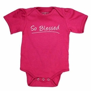"RuffleButts Fuchsia ""So Blessed"" Ruffled One-Piece"