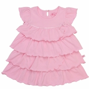 RuffleButts Pink Baby Doll Tiered Ruffled Dress