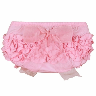 SOLD OUT RuffleButts Pink With Pink Bow Bloomer - Diaper Cover