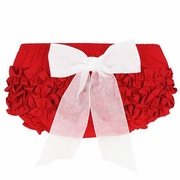 RuffleButts Red With White Bow Bloomer - Diaper Cover