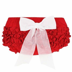 SOLD OUT RuffleButts Red With White Bow Bloomer - Diaper Cover