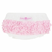 RuffleButts Swiss Dot With Pink Woven Bloomer - Diaper Cover