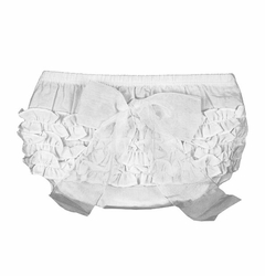 RuffleButts White With White Bow Bloomer -Diaper Cover