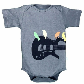 "SOLD OUT RuggedButts Gray ""Guitar Birds"" Knit One Piece"