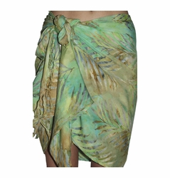 Santiki Short Sarong - Green Palm Leaf