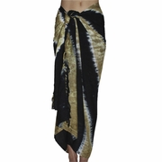 Santiki Tie Dye Striped Full Sarong - Black/Tan