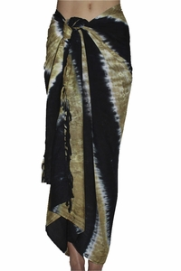 SOLD OUT Santiki Tie Dye Striped Full Sarong - Black/Tan
