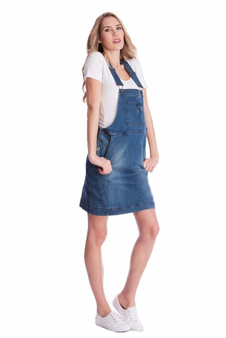 Seraphine Alliah Denim Dungaree Maternity Dress