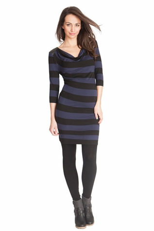 Seraphine Amnity Cowl Neck Maternity Dress With Pleather Trim