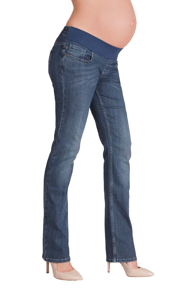 Liz Lange Women's Maternity Pull-on Jeans Denim Stretch Straight Leg, 3 front pockets, 2 back pockets. Full belly panel stretch dark Wash Blue Jeans size .