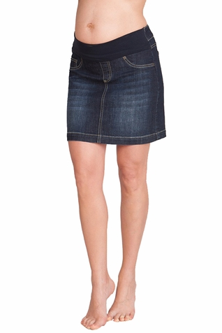 Seraphine Betsy Mid Length Denim Maternity Skirt