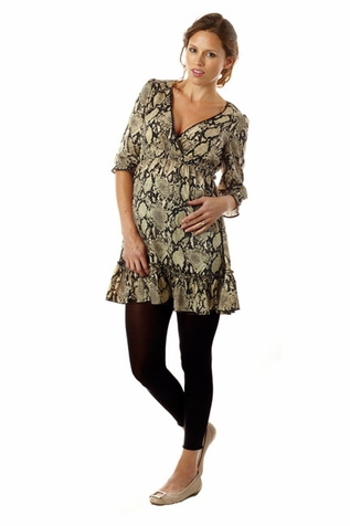 SOLD OUT Seraphine Ciara Snake Print Ruffle Maternity Tunic Dress