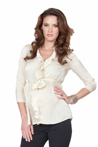SOLD OUT Seraphine Elvie Ruffle Front Maternity Blouse