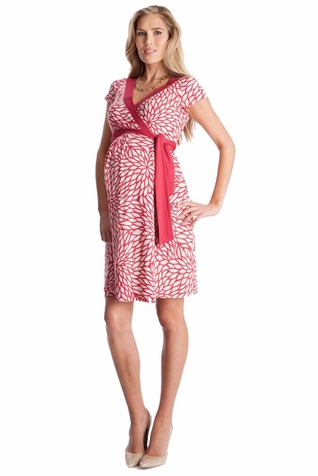 Seraphine Florencia Petal Print Maternity Wrap Dress