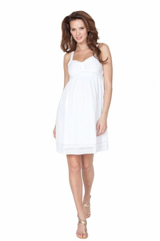 SOLD OUT Seraphine Jada Short White Gauze Babydoll Maternity Dress