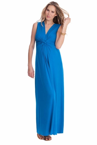 Seraphine Jo Knot Front Maternity And Nursing Maxi Dress